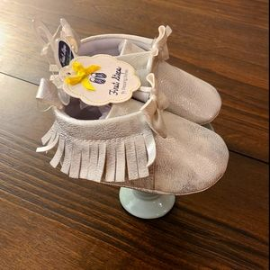 First Steps Silver Baby Moccasins